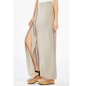 BCBGMaxAzria tan maxi skirt w/ slit